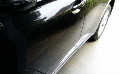 Car touch up - Lexus RX450 door key scratch - Before touch up