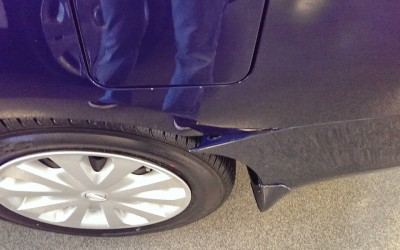 Nissan Sentra detached bumper damage - Before reattachment repair