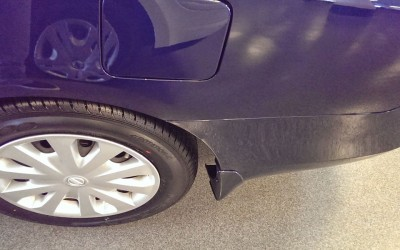 Nissan Sentra detached bumper damage - After reattachment repair