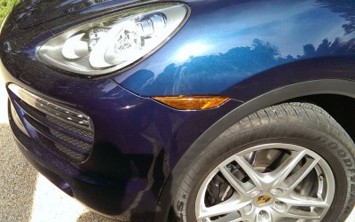 Car touch up - Porsche Cayenne front fender scrape - After touch up