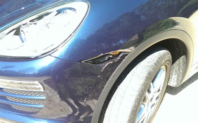 Car touch up - Porsche Cayenne front fender scrape - Before touch up