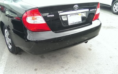 Car touch up - Toyota Camry rear bumper - Before touch up