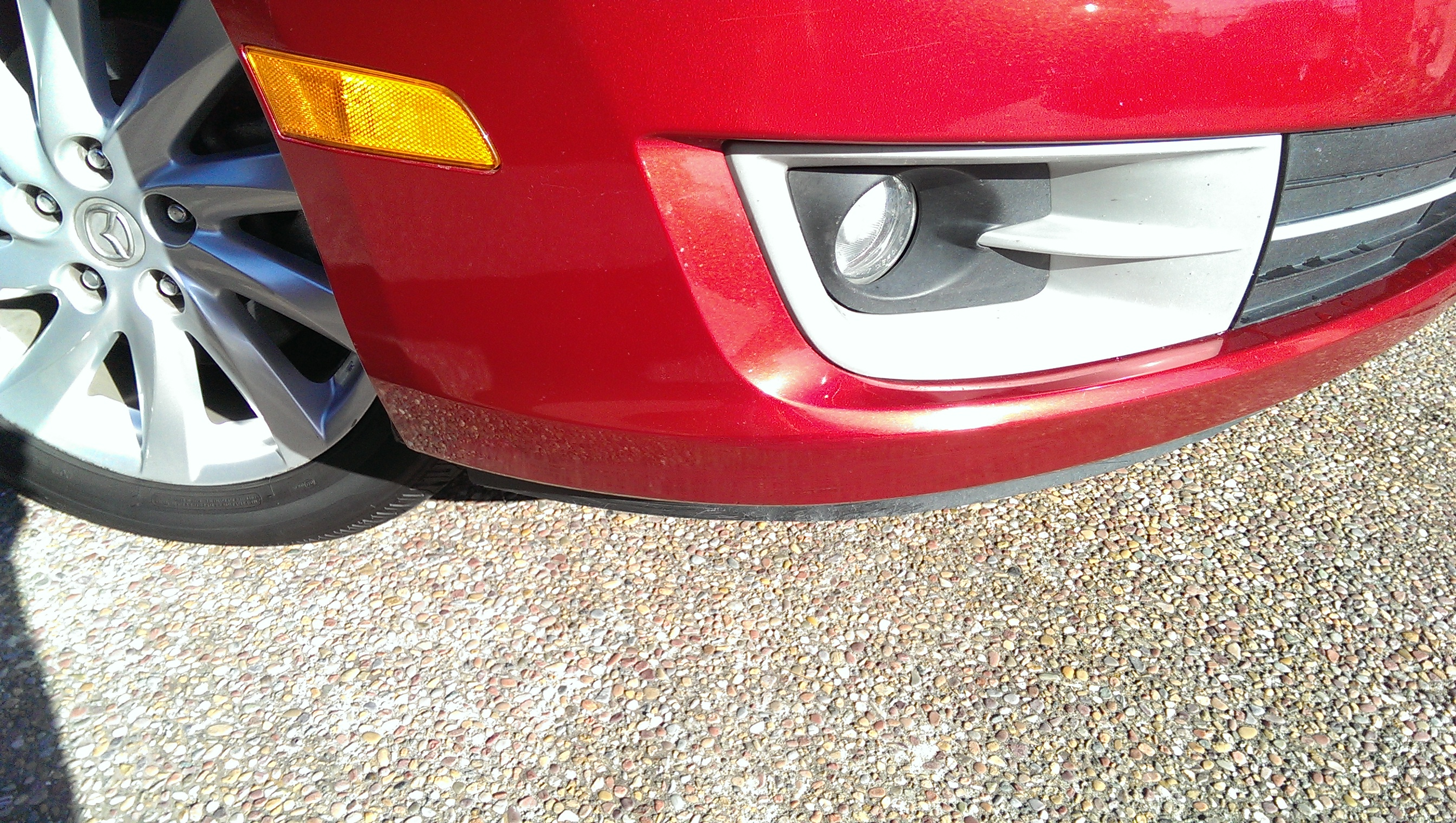 Mazda 6 Red  Front Bumper Scrape - After