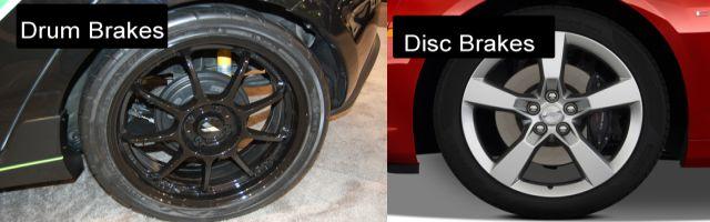What Drum brakes  Disk brakes look like